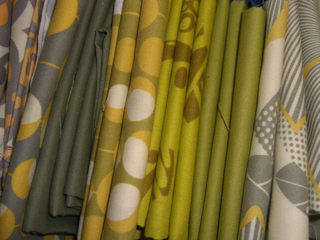 Amy Butler fabrics in greens, greys and mustards